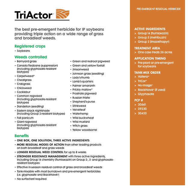 Triactor herbicide solution sheet