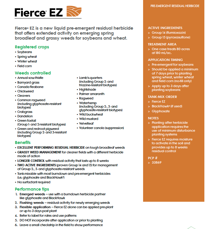 Fierce EZ herbicide solution sheet